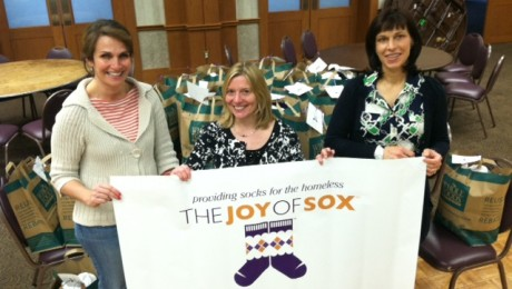 Three Moms who help conduct a sock drive for the homeless at Shir Ami Synagogue, Newtown, PA
