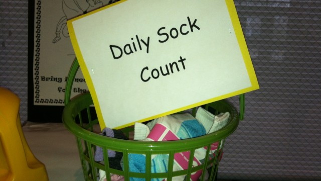 Daily sock count of new socks for the homeless. The Joy of Sox