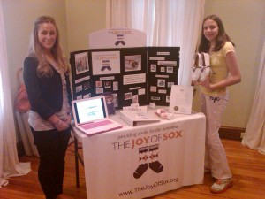 The Joy of Sox's display at a Tom's Shoes, Day Without Shoes event held at The Center on Central in Paoli, PA. Britta Winan sis on the left.