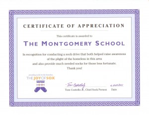 A special certificate presented to The Montgomery School for conducting a sock drive for the homeless.