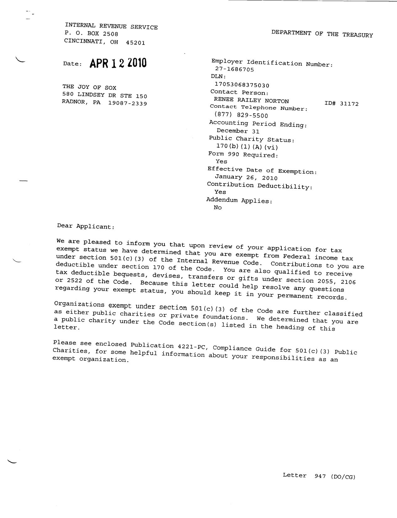 the 501c3 determination letter from the irs for the joy