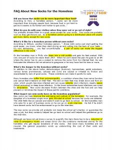 A handout FAQ answering questions about new socks for the homeless. The Joy of Sox is a nonprofit that provides joy to the homeless with new socks.