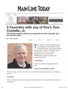 "Main Line Today, a regional magazine in the suburbs of Philadelphia published a ""5 Favorites"" profile of Tom Costello, Jr, Chief Sock Person and founder of The Joy Of Sox®. The Joy of Sox is a nonprofit with a mission to provide joy to the homeless by giving them new socks. Founded in 2010 they have distributed over 194,000 pairs of new socks to the homeless around Philadelphia, 28 other states, Washington D.C. and three countries. To learn more about them visit www.TheJoyOfSox.org"