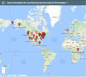 A Google map showing places that The Joy of Sox® has sent new socks for the homeless. The Joy of Sox is a nonprofit with a mission of giving joy to the homeless by giving them new socks.