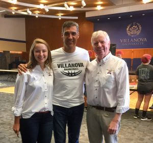 At the St. Thomas of Villanova Day of Service 2017 at Villanova University is Coach Jay Wright (2016 NCAA Champions!), Eliza Clark, Chief Sock Intern, and Tom Costello Jr, Chief Sock Person and Founder The Joy of Sox (providing new socks for the homeless).