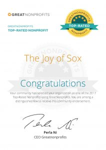The Joy of Sox, a nonprofit that provides socks to the homeless, earned the TOP RATED NONPROFIT award from Great Nonprofits.