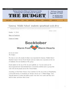 The Budget (Sugarceek, OH) reported on a sock drive at a local school that was inspired by The Joy of Sox, a nonprofit that provides new socks for those experiencing homelessness.